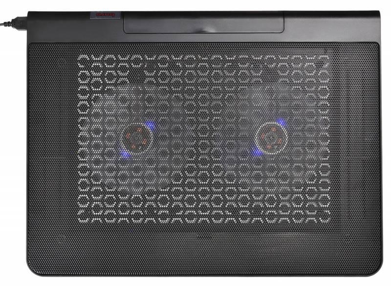"""Подставка для ноутбука Buro BU-LCP170-B214 17""""398x300x29мм 2xUSB 2x 140ммFAN 926г металлическая сетка/пластик черный"""