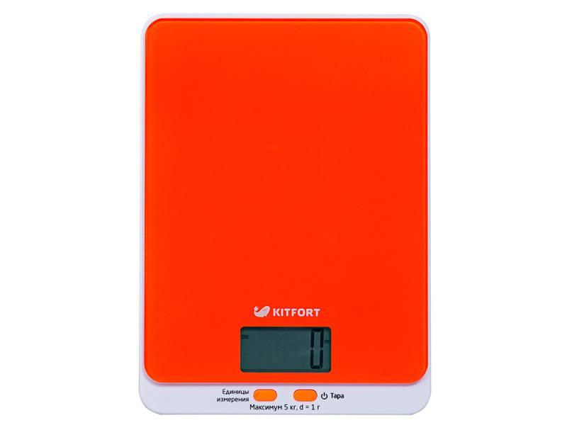 Весы кухонные электронные Kitfort KT-803-5 макс.вес:5кг оранжевый