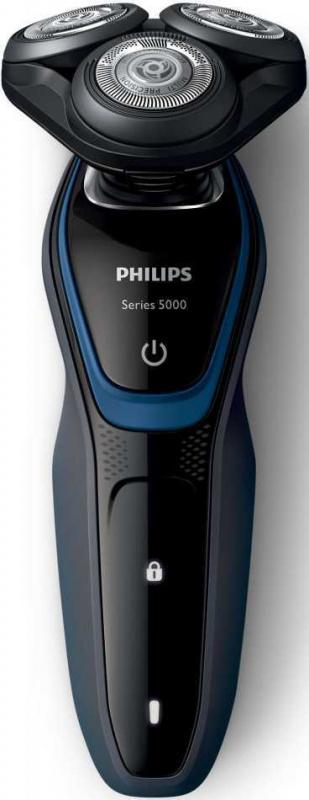 Бритва роторная Philips Series 5000 S5100/06 реж.эл.:3 питан.:элек.сеть/аккум. черный/синий