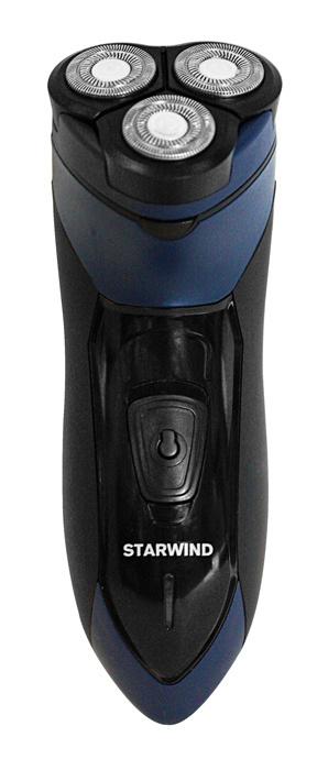 Бритва роторная Starwind SBS1503 реж.эл.:1 питан.:аккум. черный/синий